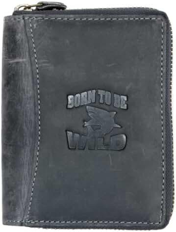 Large Dark Grey Genuine Strong Zip-around (zipper around) Leather Wallet Shark