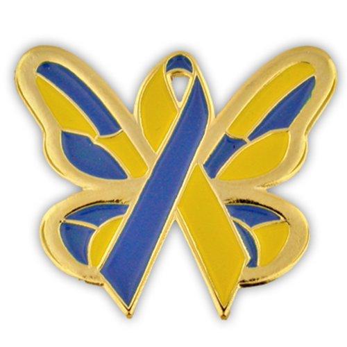 PinMart Down Syndrome Awareness Ribbon Butterfly Enamel