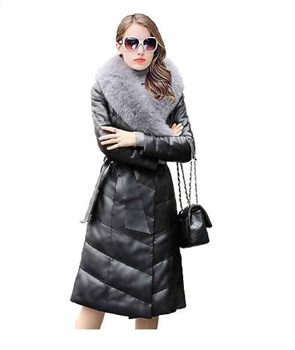 Chaqueta de cuero Mujer Abrigos de invierno Abrigo largo de trinchera PU OUTERWEAR