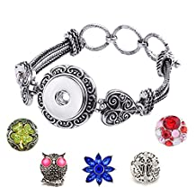 Ginger Snap Bangle Bracelet Fit 18MM Snap Button Charms DIY Adjustable Bangle Jewelry For Women