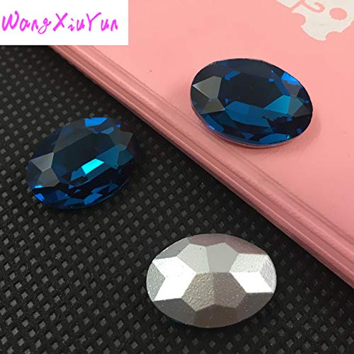 Calvas Retail All Colors 4x6mm~20x30mm Pointback (Without Hole) Strass Shiny Gems Crystal Oval Shape Fancy Stones for Jewelry Crafts - (Color: Blue Zircon, Item Diameter: 10x14mm 48pcs) ()