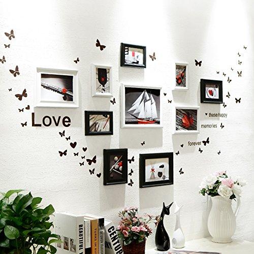 Bilderrahmen* 10 Box Foto wand Schmetterling wand Aufkleber der Europäischen Rahmen Kombination Kinder Zimmer Restaurant foto an der wand, Schwarz und Weiß 2+ der schwarz-weiß-rot lackiert Herz