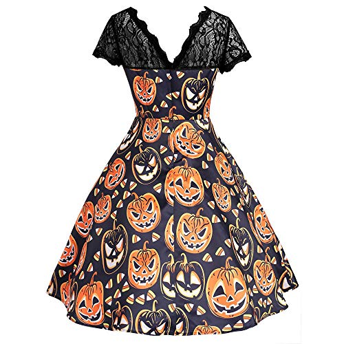 Party Womens Long Dresses Halloween Clearance Vintage Lace Short Sleeve Swing Dress Printed Dress By -