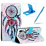 Strap Leather Case for Galaxy A40,Wallet Flip Case for Galaxy A40,Herzzer Stylish Elegant 3D Skull Flowers Pattern Magnetic Stand PU Leather Case with Soft TPU