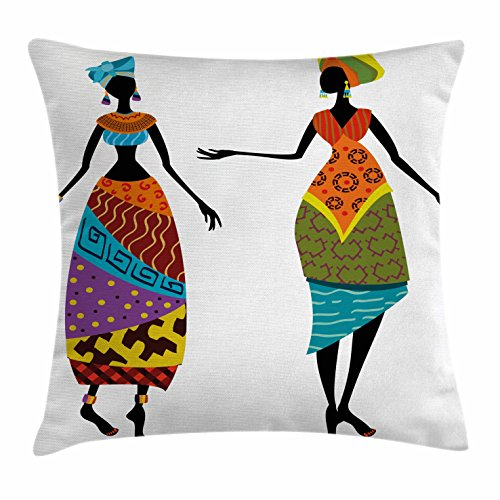 African Woman Throw Pillow Cushion Cover by Ambesonne, Tribal Ladies in Traditional Costume Silhouettes Ethnicity Vintage Display, Decorative Square Accent Pillow Case, 18 X 18 Inches, Multicolor