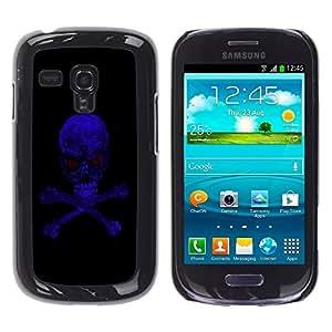TECHCASE**Cubierta de la caja de protección la piel dura para el ** Samsung Galaxy S3 MINI NOT REGULAR! I8190 I8190N ** Blue Skull Evil