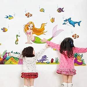 ملصقات جدارية على شكل حورية البحر - ملصقات جدارية لغرف الأطفال والفتيات وغرفة الأطفال قابلة للإزالة تحت البحر