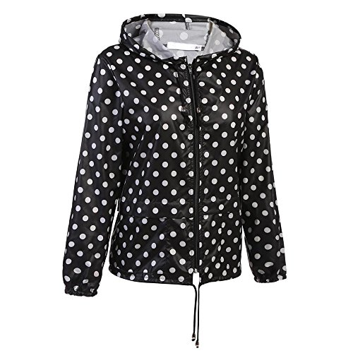 cooshional Femme Veste Impermable Biker Manteau Hoodie Cape de pluie Raincoat Compressible Blouson Top Moto Zipper fond noir pois blanc