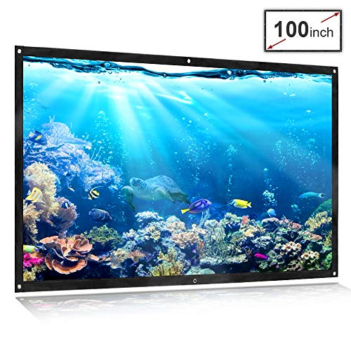 Projector Screen 100inch 16:9 Front and Rear Projection Screen Portable Simple Mounted Screen Curtain for Home Theater, Movie, Party, Outdoor activities and More