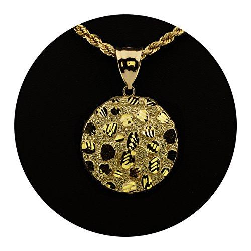 LoveBling 10K Yellow Gold Nugget Diamond Cut Charm Pendant (1.80