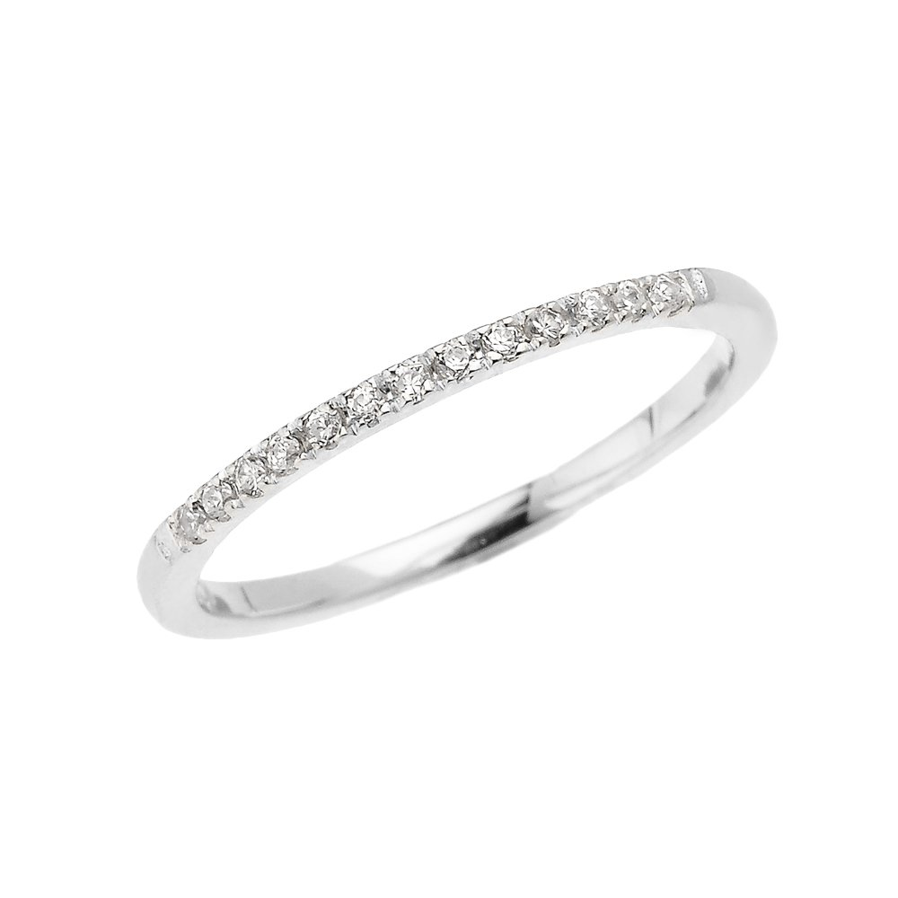 14k White Gold Dainty Diamond Stackable Ring(Size 6.25)