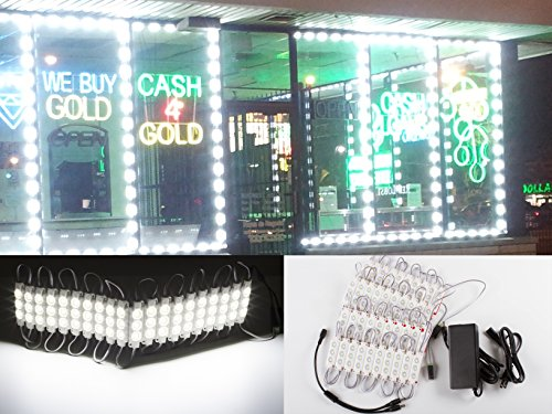 40ft Super bright storefront LED light pure white 5630 injection module with UL 12v AC Power package