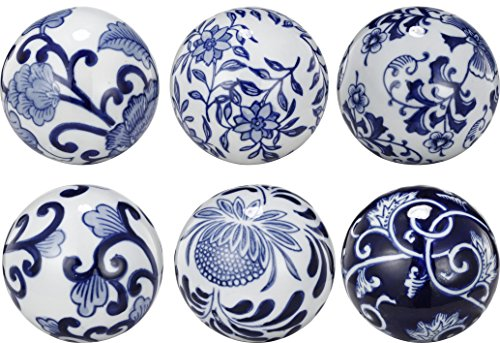 A&B Home AV69831 Decorative Orbs (Set of 6) Royal Blue Ceramic