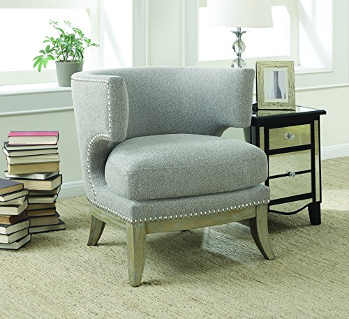 Coaster Contemporary Barrel Back Grey Chenille Fabric Upholstered Accent (Barrel Back Chair)