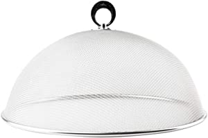 UPKOCH Mesh Food Covers Dome Stainless Steel For Home Plate Bowl Food Tent Bugs Party Picnic BBQ (Silver Diameter 24cm)