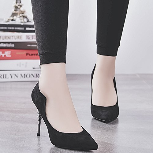 Black Slip Toe Pumps Party HooH Pointed On Spiral Flannel Women's Pumps Heel High U84qxw4f7