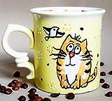 Ceramic Cat mug funny, 10oz, Handmade Stoneware tea cup, Cute birthday gifts for girls, Cat lover...