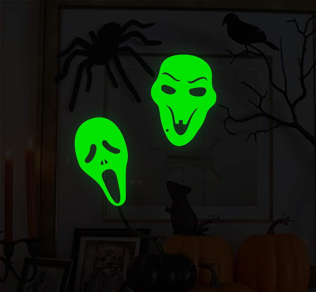 Lamdgbway Adesivo di Halloween Halloween Luminoso Parete Decalcomanie Luminose Rimovibili Casa Decorativa Fluorescente Adesivi Decorazioni di Halloween (12pcs Occhi Diabolici)