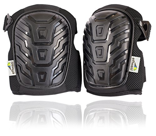 Professional Work Knee Pads - Heavy Duty Protect Caps with Adjustable Elastic Straps and Soft Convenient Gel Cushion - Protect your Knees at Work Home or Garden by Efiwasi