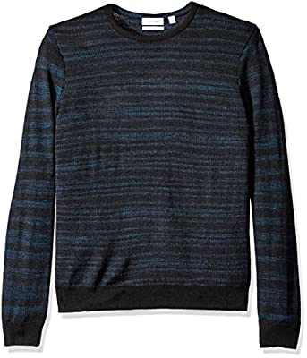 Calvin Klein Men's Merino Space Dye Stripe Crew Neck Sweater