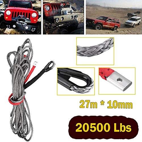 Cuerda Cable de L/ínea Nylon Sint/ética S/úper Pesado de Cabrestante con Funda para SUV ATV UTV Cami/ón Negro Cuerda de Cabrestante 20500lbs 9298kg