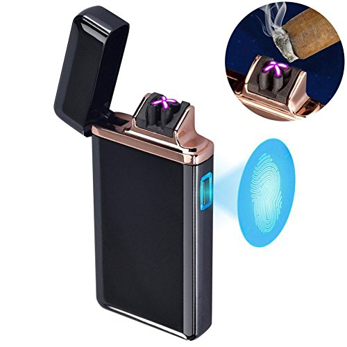 Plasma Lighter Dual Arc,USB Rechargeable Windproof Butane Free Lighter for Cigarette/Pipe/Cigar Fingerprint Touch Switch Electric Lighter