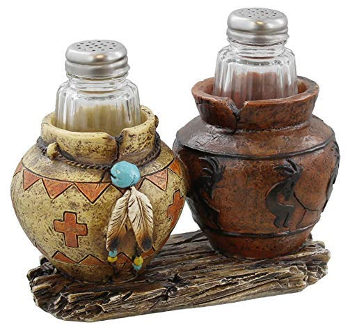 Southwest Decor - Clay Pot / Jar Kokopelli Salt and Pepper Shaker Set