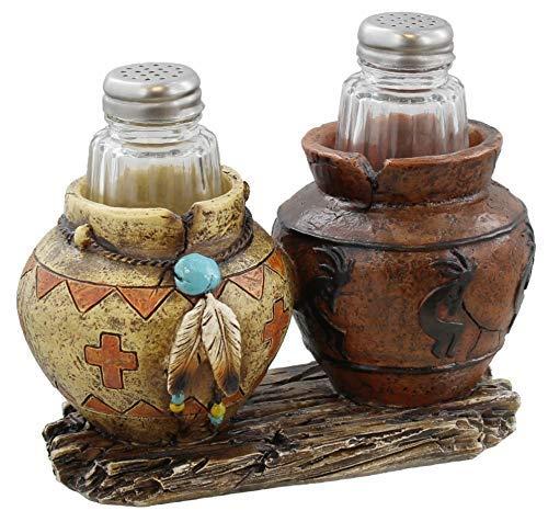 - Southwest Decor - Clay Pot / Jar Kokopelli Salt and Pepper Shaker Set