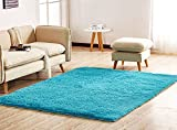 Soft Area Rug,Girls Bedroom Rug,Fluffy Thicken Anti-Slip Bottom for Home Dining Room Bedroom,Shag Plush Children Kids Nursery Rugs Floor Carpet 5.3 Feet by 6.6 Feet,Blue