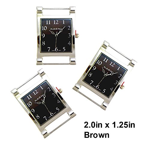 Silver Interchangeable Beaded Watch - TVT 2pcs Rectangle Watch Faces for Your Interchangeable Beaded Bands TVT-3604 (Brown)