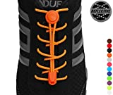 StoutGears Reflective No Tie Shoelaces Lock System - Elastic Shoe Laces for Sneakers - 1 Pair (Neon Orange)