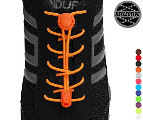 StoutGears Reflective No Tie Shoelaces Lock System - Elastic Shoelaces for Sneakers (1 Pair) (Neon Orange)