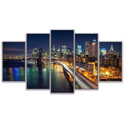 qingyuge 5 Panels Canvas Wall Artcanvas Art Print Painting Poster Wall Modular Picture 5 Panel Los Angeles Night View for Home Decoration Kids Room Frameless,20X35 20X45 20X55Cm]()