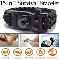 Super Paracord Type Survival Bracelet, New 15-in-1 Black Rope Design Survival Tool, Whistle, Compass, Temp, & Fire Starter, Classy Looking Design! Best Featured Outdoor Survival Rope Bracelet! from SBS-LLC