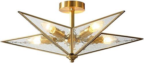 Modo Lighting Brass Mid Century Semi Flush Ceiling Light Star Shape 5-Light Pendant Light for Bedroom Hallway