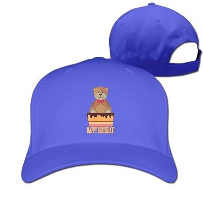 Bear Happy Birthday Women's Pure Color Baseball Cartoon Adjustable Baseball Caps