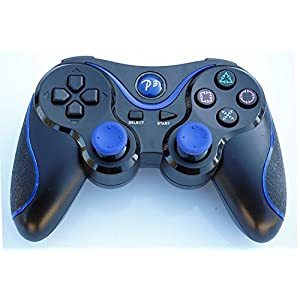 PomeMall Wireless Remote PS3 Controller Gamepad for use with PlayStation 3 (Black/Blue)