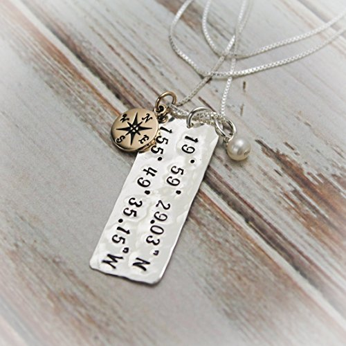 Chart you Special Place Coordinates Necklace Longitude and Latitude Hand Stamped and Personalized Sterling Silver & Bronze
