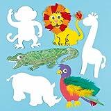 Plantillas de Cartulina en Forma de Animales de Safari para Pintar y Decorar. Manualidades Creativas para Niños Perfectas para Fiestas Infantiles (Pack de 10)