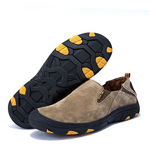 ICEGREY Herren Mode Trekking Wanderschuhe mit Plüsch Innen Warm Outdoor Schuhe Traillaufschuhe Walkingschuhe Khaki EU 43