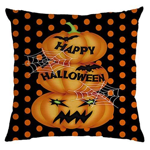 Aqua Halloween Lyrics (Unionm 34# Pillow Covers Decorative Throw Pillow Case Linen Halloween Theme Pumpkin Printed 45cm x 45cm 18 x 18 inches Cushion Cover for Home Sofa Car 1)