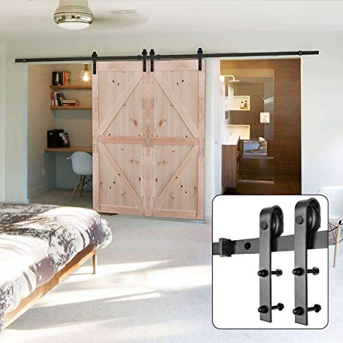 - U-MAX 10FT Heavy Duty Double Door Sliding Barn Door Hardware Kit - Super Smoothly and Quietly - Simple and Easy to Install - Fit 30