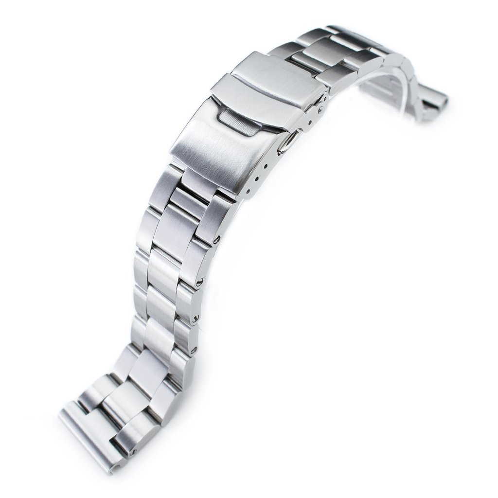 20mm Super Oyster 316L Stainless Steel Watch Bracelet Straight End, Diver Clasp Brushed
