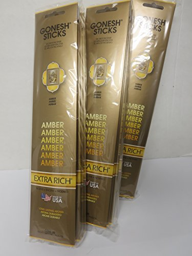 Earth Incense Sticks - Gonesh Incense Sticks Extra Rich Collection: Amber 12 Pack (20 Sticks/pack)