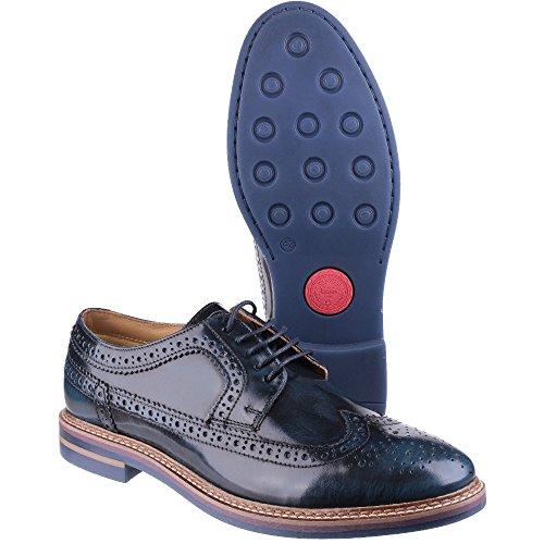 Base London zapato Hombre Cordones Cuero Hi Shine Navy Navy