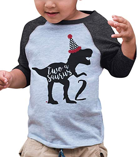 (7 ate 9 Apparel Two Birthday Dinosaur Grey Baseball Tee)