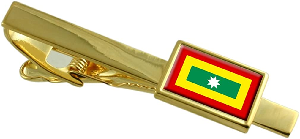 Cartagena de Indias City Colombia Flag Gold-tone Tie Clip