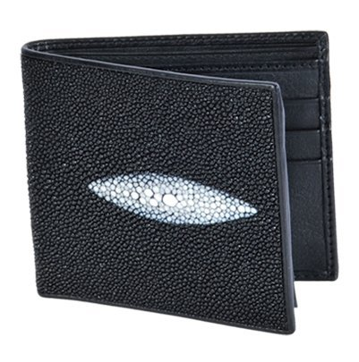 (Genuine Sting RAY Leather for You Bi-fold Wallet 1 White Pearl From Thailand.)
