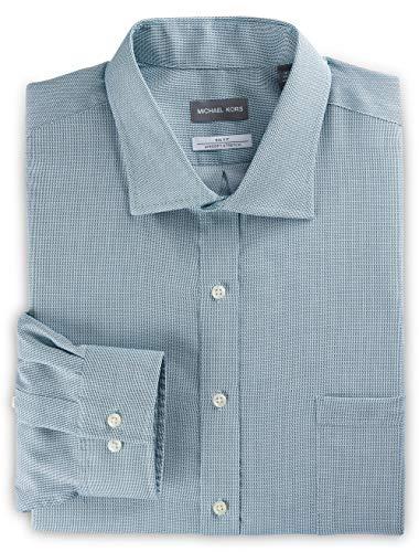 Michael Kors Non-Iron Textured Solid Stretch Dress Shirt Green