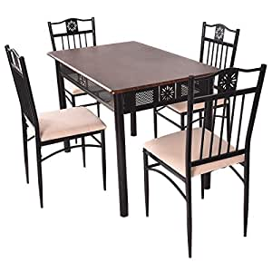 Amazon.com  TANGKULA 5 Piece Wood Top Metal Dining Table and chairs set Kitchen Breakfast